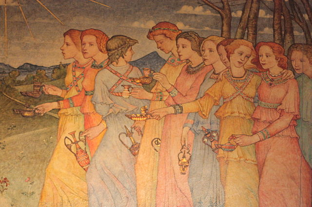 Photo: stephencdickson - http://commons.wikimedia.org/wiki/File:The_Parable_of_the_Ten_Virgins_(section)_by_Phoebe_Traquair,_Mansfield_Traquair_Church,_Edinburgh.JPG